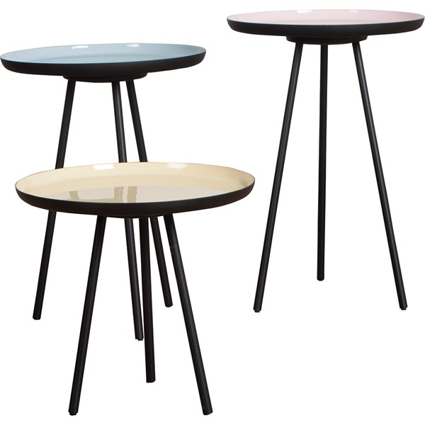 Zuiver Set of 3 Retro Living Room Side Tables in Enamel Finish