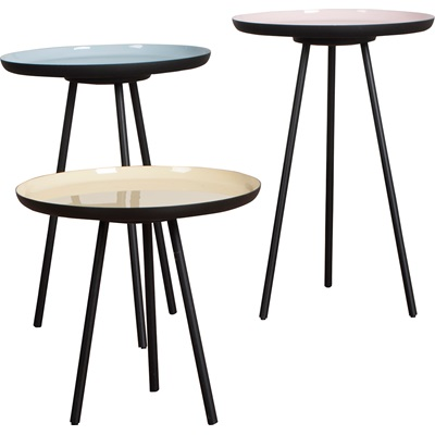 SET OF 3 RETRO LIVING ROOM SIDE TABLES in Enamel Finish