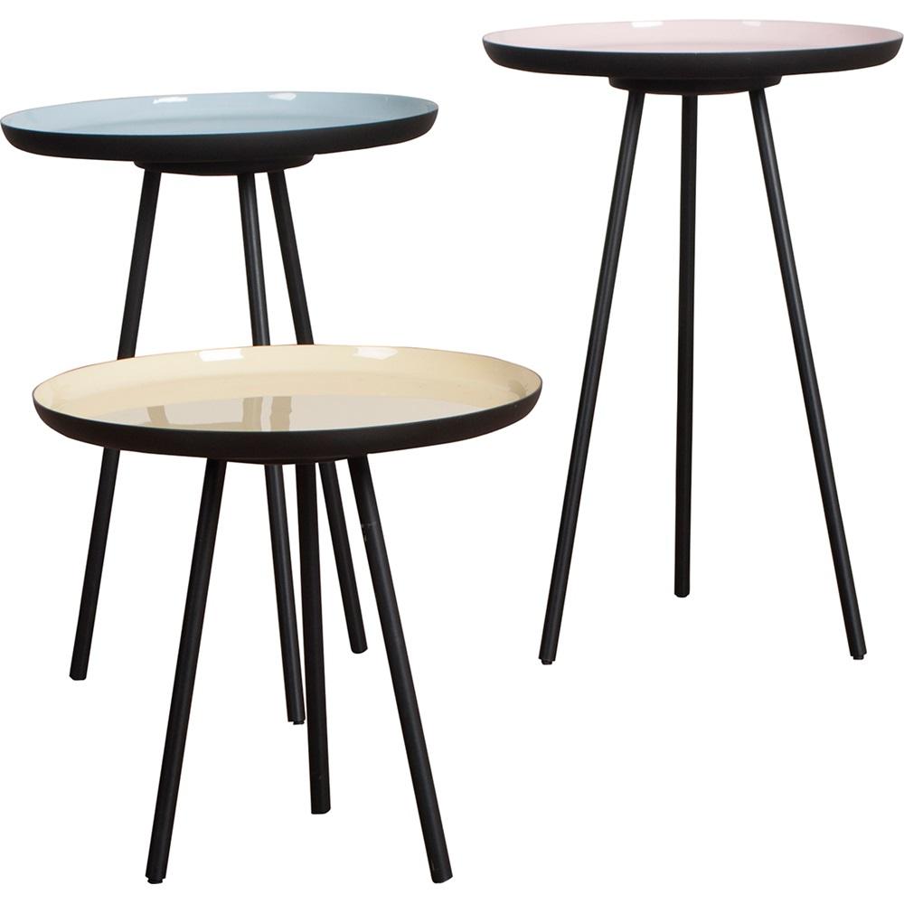 set of 3 retro living room side tables in enamel finish
