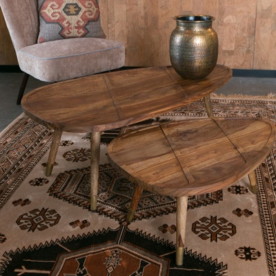SHAM SET OF 2 COFFEE TABLES in Rosewood