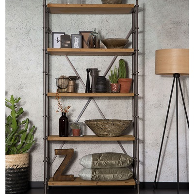 Dutchbone Shelf Iron Display Cabinet in Industrial Style