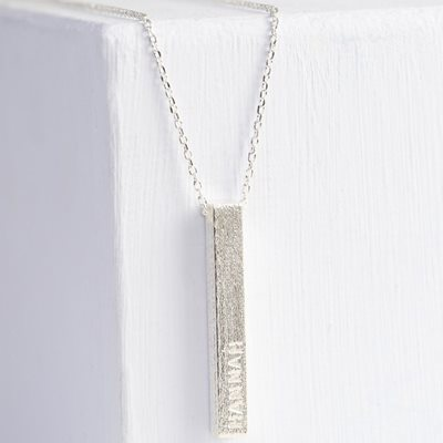 PERSONALISED DIAMOND SHIMMER BAR NECKLACE in Silver