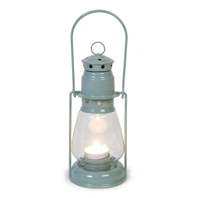 MINERS CANDLE LANTERN with Handle in Shutter Blue by Garden Trading