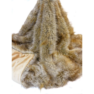 SIBERIAN WOLF Faux Fur Throw by Helen Moore