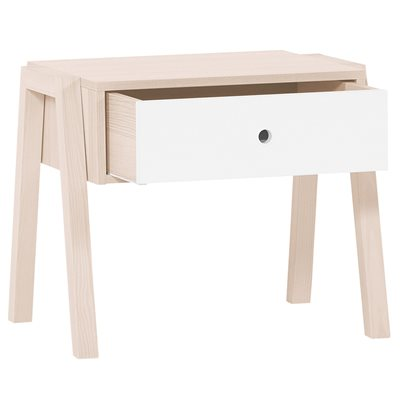 SPOT STOOL / BEDSIDE TABLE in Acacia and White