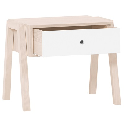 Vox Spot Stool / Bedside Table in Acacia & White