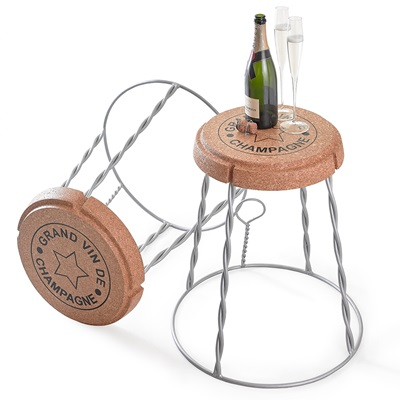 SIDE TABLE in Champagne Cork Wire Cage Design