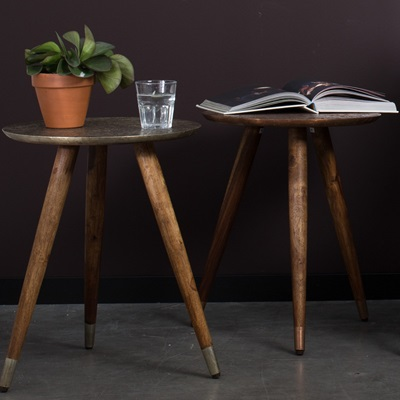 DUTCHBONE BAST SIDE TABLE in Embossed Brass Finish