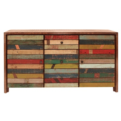 RUSTIC HAITI WOODEN SIDEBOARD With Storage