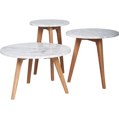 LIVING ROOM SCANDI SIDE TABLE in White Marble & Oak