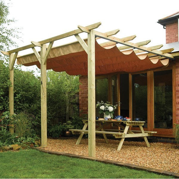 Rowlinson Sienna Outdoor Canopy Gazebo in Natural Timber