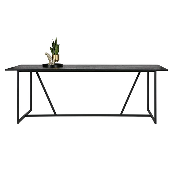 Silas Oak Dining Table in Black Night by Woood