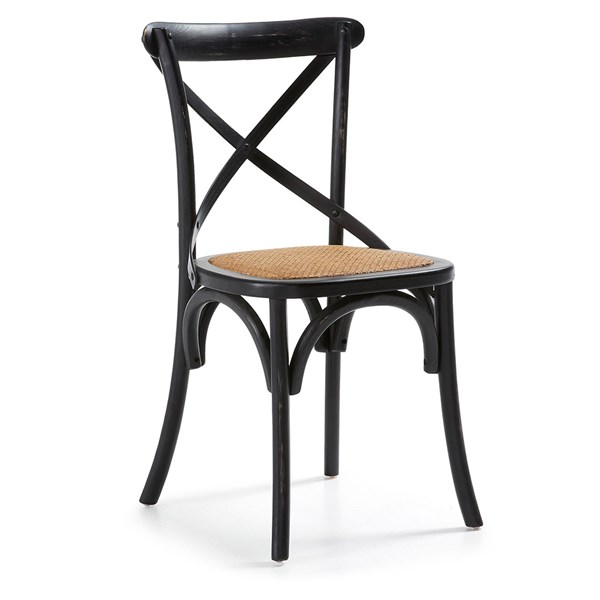 Pair of Silea Wooden Dining Chairs in Black