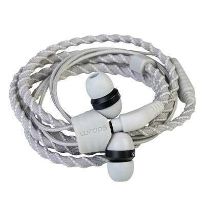 WRAPS CLASSIC WRISTBAND HEADPHONES WITH MICROPHONE in Silver