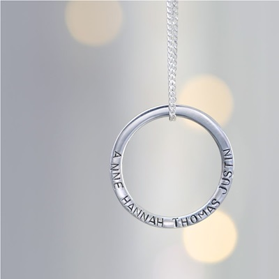 PERSONALISED ETERNITY HOOP NECKLACE in Sterling Silver