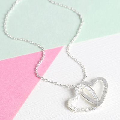 PERSONALISED INTERLOCKING HEARTS NECKLACE in Silver