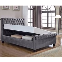 LOLA UPHOLSTERED OTTOMAN BED IN SILVER by Flair Furnishings  King