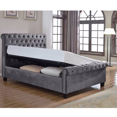 LOLA UPHOLSTERED OTTOMAN BED IN SILVER by Flair Furnishings