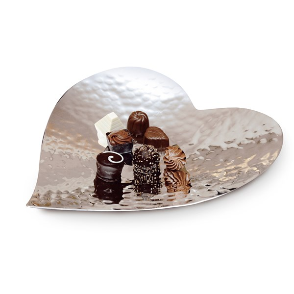 Silver Plated Heart Shaped Plate