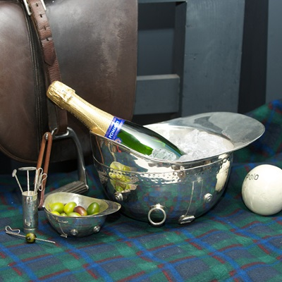 LUXURY POLO HELMET WINE COOLER in Silver Plated