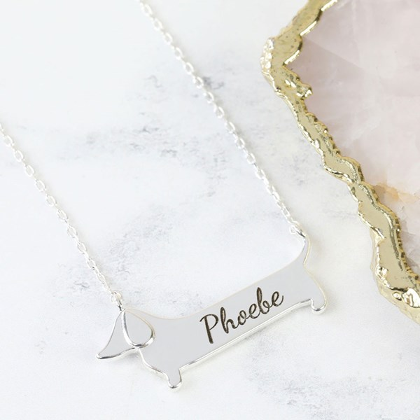Personalised Sausage Dog Necklace in Silver