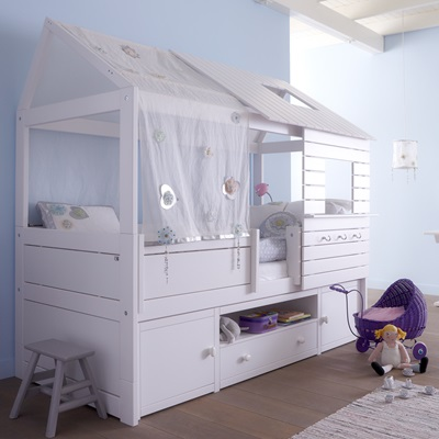 SILVERSPARKLE LOW HUT CHILDREN'S BED with Storage