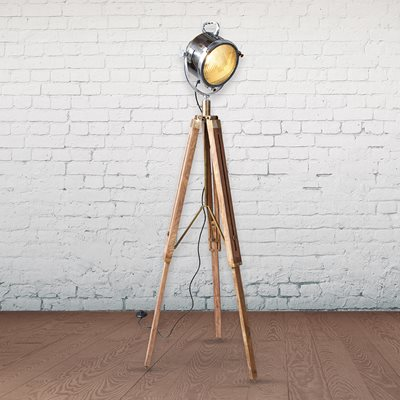 CULINARY CONCEPTS WOODEN INDUSTRIAL TRIPOD FLOOR LAMP