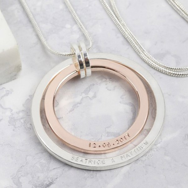 Personalised Long Double Circle Necklace