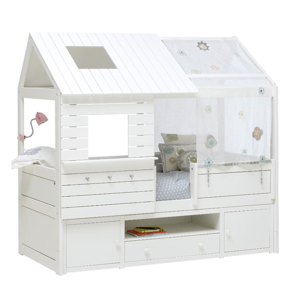 silversparkle low hut bed  storage  lifetime furniture  cuckooland -  silversparklelowcabinbedwithstorage