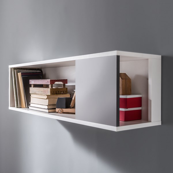 Concept Wall Shelving Unit in White & Grey
