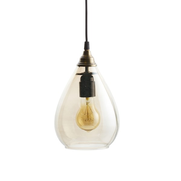 Teardrop Glass Ceiling Light in Antique Brass