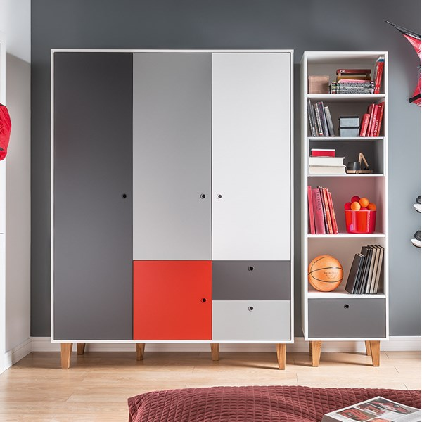 Vox Concept 3 Door Wardrobe in Grey & Red