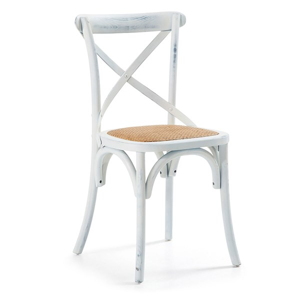 Pair of Silea Wooden Dining Chairs in White