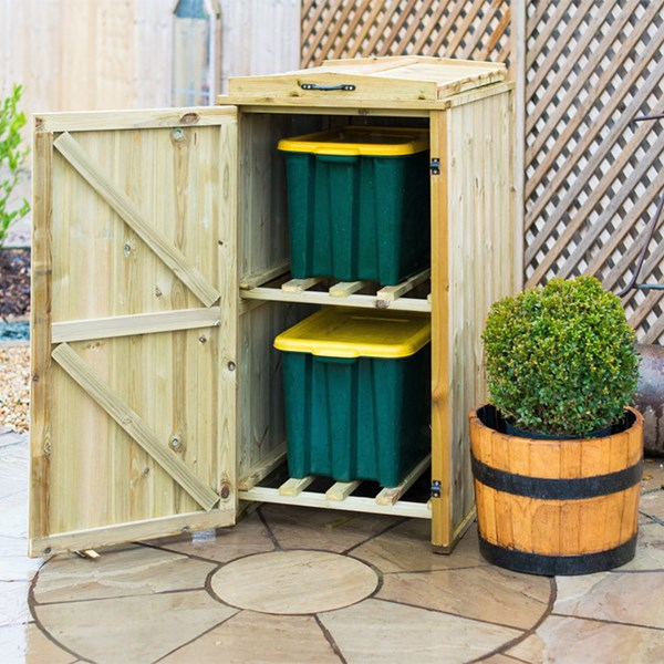 Single Wooden Recycling Box Storage