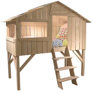 MATHY BY BOLS KIDS TREE HOUSE SINGLE CABIN BED in Natural Lime Wood