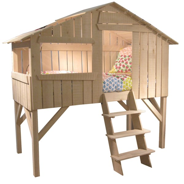 Mathy By Bols Kids Treehouse Single Cabin Bed in Natural Lime Wood