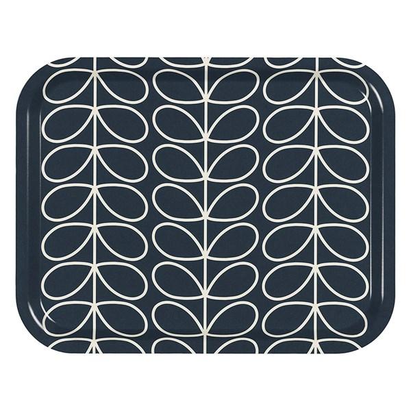 Orla Kiely Medium Tray in Linear Stem Slate Grey Print