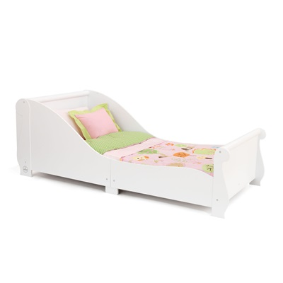 GIRLS TODDLER SLEIGH BED in White