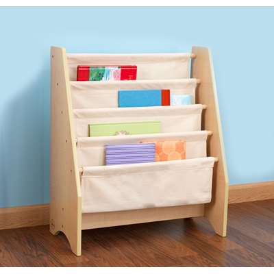 White Sling Bookcase: SLING BOOKSHELF In Natural Finish