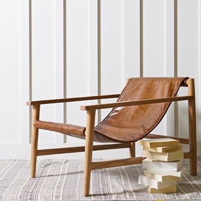 Leather Sling Chair Wood Com Wanderloot Genoa Solid Sheesham
