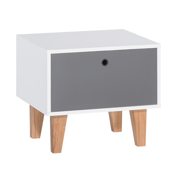 Concept Bedside Table in White & Grey by Vox