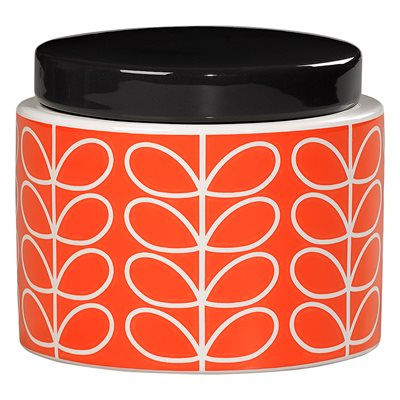 ORLA KIELY CERAMIC SMALL STORAGE JAR in Linear Stem Persimmon Orange Print