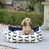 Small Dog Bed in Dachshund Print Black