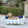 Small Dog Bed in Dachshund Print Blue