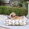Small Dog Bed in Dachshund Print Brown
