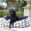 Small Labrador Print Dog Bed in Black