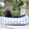 Small Labrador Print Dog Bed in Blue