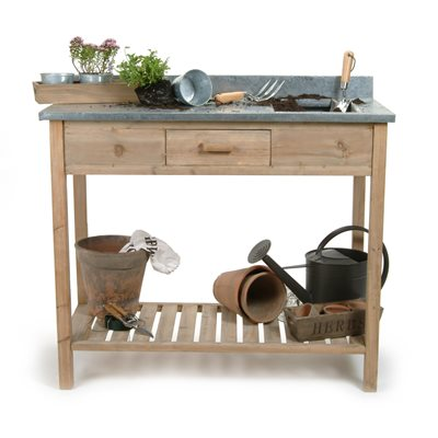 POTTING BENCH SMALL WITH ZINC TOP by Garden Trading