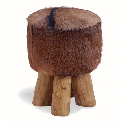 ROUND COWHIDE STOOL