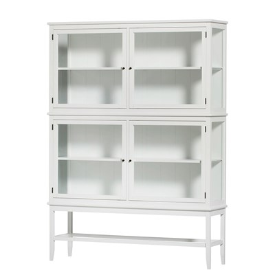 Glass Cabinet With Legs In Seaside White - Cabinets, Drawers & Bookshe